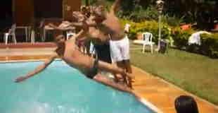 【オモシロ】流れるようにプールに飛び込むと最後の人が…w