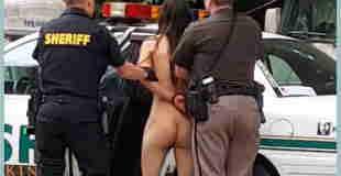【エロ注意】海外のキャンプ場で全裸で走り回る美女が警察に逮捕される瞬間の動画w