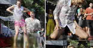 【画像】ロシアの女子たちが出場する「濡れTシャツコンテスト」ってやっぱエロいわ