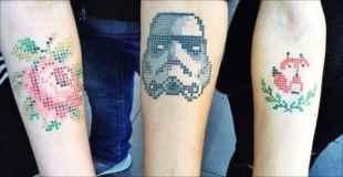 斬新な可愛いタトゥー方法が注目を浴びる。クロスステッチ風デザインタトゥー(画像)