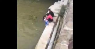 【動画】学校のテストで失敗した子供を川に突き落とそうとしているスパルタママが恐すぎる…【マジキチ】