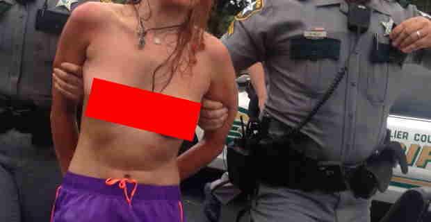 【エロ注意】なかなかの美乳のブロンド女性が乳揺れしながら逮捕されてるwww