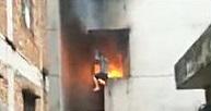 マンション火災で叫びながら死んでいく男性の映像