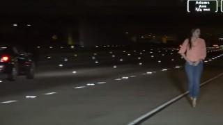 【衝撃動画】車の故障?小便するため?高速道路のど真ん中に停車する美女。
