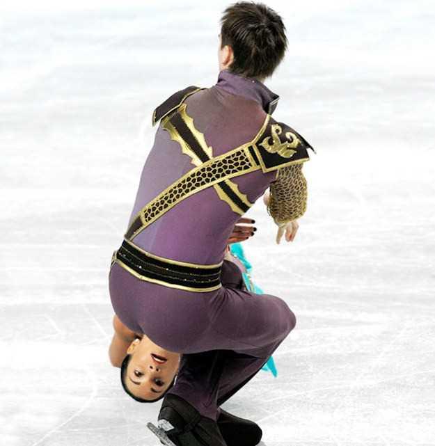 アイススケートのペア競技のオモシロ画像