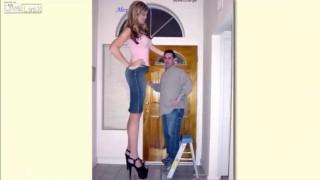 【衝撃動画】世界のデカい女性たちを普通の人たちと比較した画像の動画まとめw