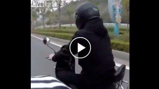 """【動画】走行中のバイクのヘルメットから生えてる""""モノ"""" www"""